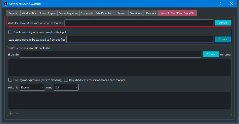 Cambiador de escena automático - Leer y escribir archivo de texto